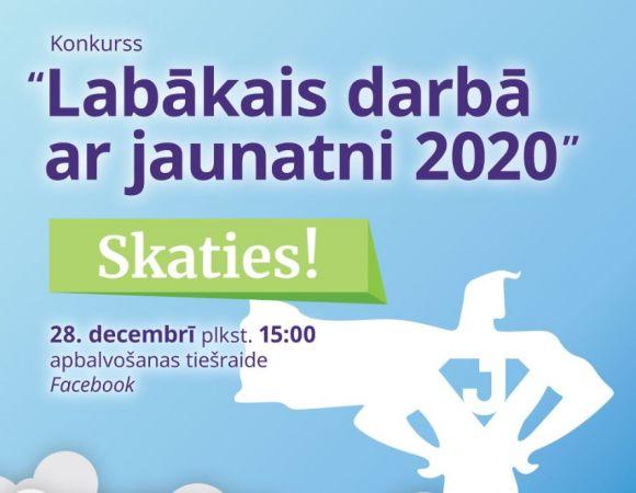"""28. decembrī notiks apbalvošanas ceremonija """"Labākais darbā ar jaunatni 2020"""""""